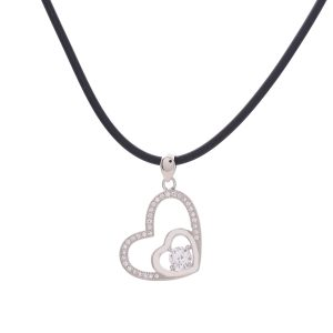 CZ Beautiful Double Heart Pendant