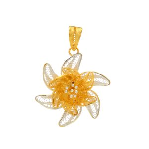 Filigree Two Tone Flower pendant