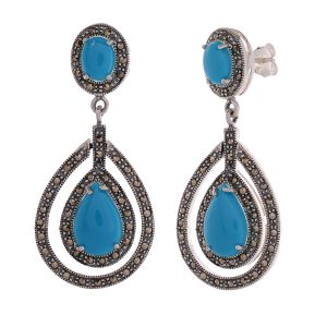 Marcasite Blue Stone Hanging Earring