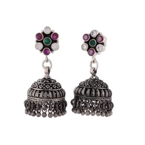Antique Oxidised Silver Multistone Jhumkis