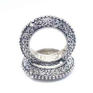 Antique Silver Oxidized Designer Bangles