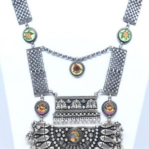 Antique Oxidized Beautiful Radha Krishna Heavy Necklace