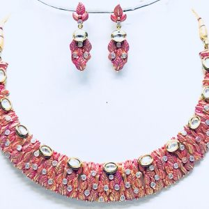 Antique Silver Red Kundan Meena Neckalce Set