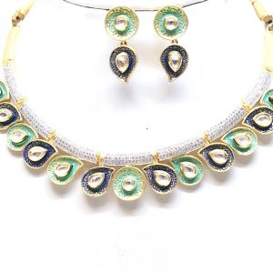 Antique Silver Designer Green and Blue Kundan Meena Neckalce Set