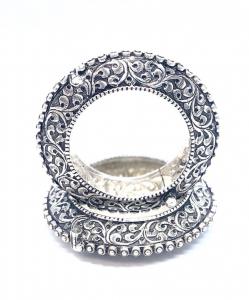 Antique Silver Oxidized Designer Bangles