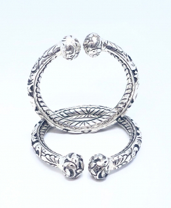 Antique Silver Oxidized Open Bangles