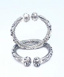 Antique Silver Oxidized Open Bangles
