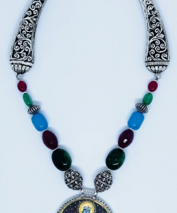 Antique Lord Krishna Painting Necklace