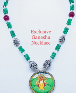 Antique Lord Ganesha Green Beads Painting Necklace