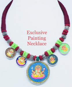 Antique Exclusive Lord Ganesha Painting Necklace