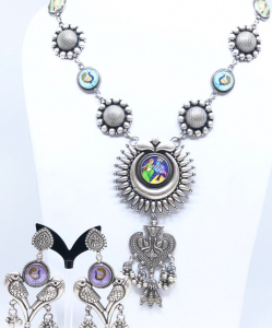 Antique Oxidized Radha Krishna Necklace Set