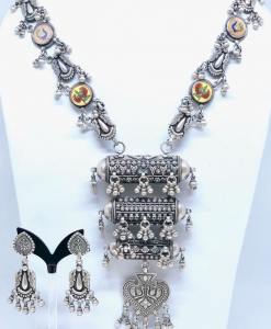 Antique Oxidized Necklace Set with Earrings