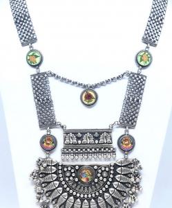 Antique Oxidized Beautiful Radha Krishna Heavy Necklace