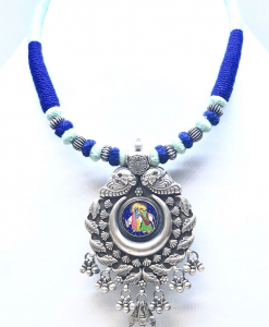 Antique Silver Radha Krishna Necklace