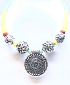 Antique Silver Oxidized Beaded Necklace