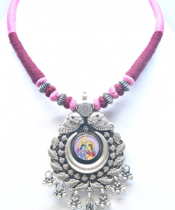 Antique Silver Radha Krishna Necklace