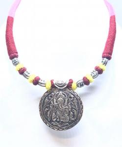 Antique Silver Oxidized Ganesha Necklace