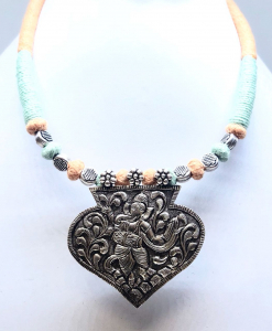 Antique Silver Oxidized Ganesha Necklace