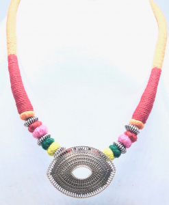 Antique Silver Colorful Thread Necklace