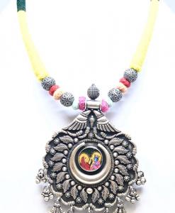 Antique Silver Oxidized Radha Krishna Necklace