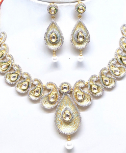 Antique Silver Gold Plated Kundan Necklace