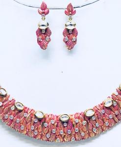 Antique Silver Red Kundan Meena Neckalce Set