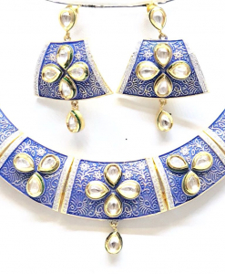 Antique Silver Blue Kundan Meena Necklace Set