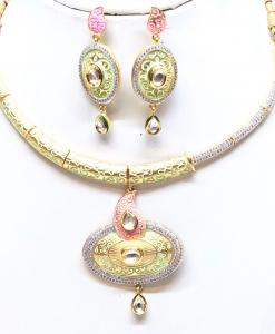 Antique Silver Designer Pink Kundan Meena Neckalce Set