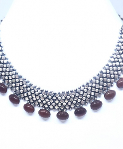Antique Silver Red Beads Necklace