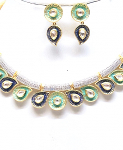 Antique Silver Designer Green and Blue Kundan Meena Neckalce Set
