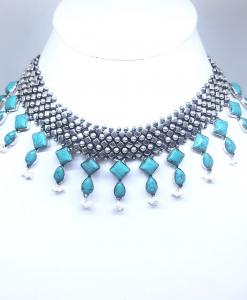 Antique Silver Blue Turquoise Necklace