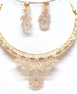 Antique Silver Designer Golden Neckalce Set
