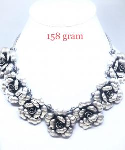 Antique Silver Rose Necklace