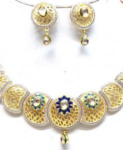 Antique Silver Designer Kundan Meena Neckalce Set