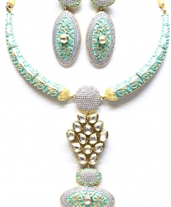 Antique Silver Designer Green Kundan Meena Neckalce Set