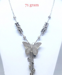 Antique Silver Butterfly Chain Necklace