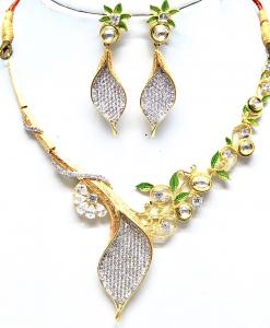 Antique Silver Designer Kundan Meena Leaf Neckalce Set