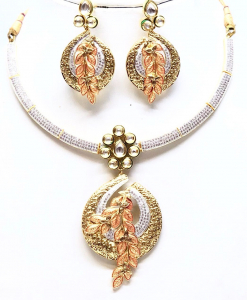 Antique Silver Designer Kundan Meena Golden Neckalce Set