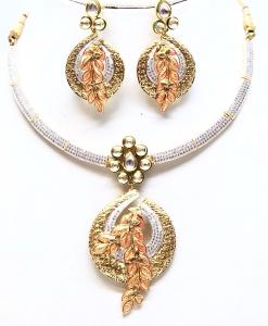 Antique Silver Designer Kundan Meena Golden Neckalce Set