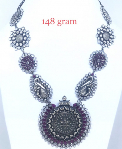 Antique Silver Heavy Red Necklace