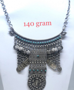 Antique Silver Necklace with blue beads