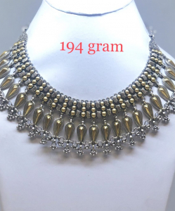 Antique Silver Two Tone Choker Necklace