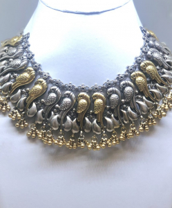 Antique Silver Two Tone Bird Choker Necklace