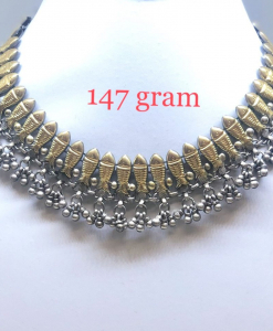 Antique Silver Two Tone Fish Choker Necklace