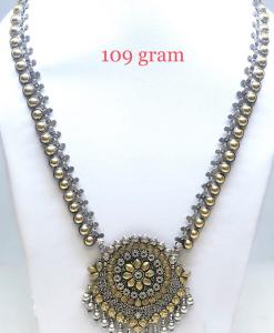 Antique Silver two Tone Long Designer Necklace