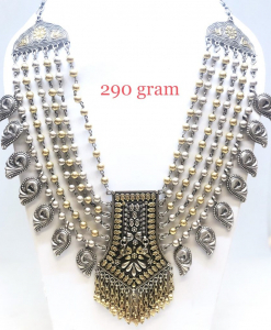 Antique Silver Heavy Two Tone Designer Necklace