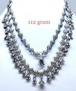 Antique Silver Triple Chain Necklace