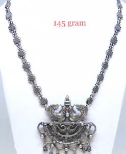 Antique Silver Peacock Necklace