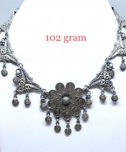 Antique Silver Flower Choker Necklace