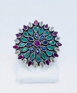 Exclusive Mutlicolor Cut Stone Ring